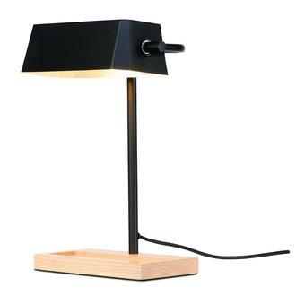 it's about RoMi Tafellamp ijzer/hout Cambridge zwart/naturel