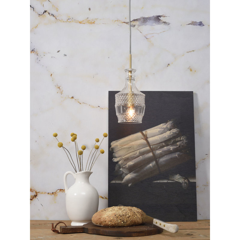 it's about RoMi-collectie Hanglamp glas Brussels  transparant/goud, rechtvormig