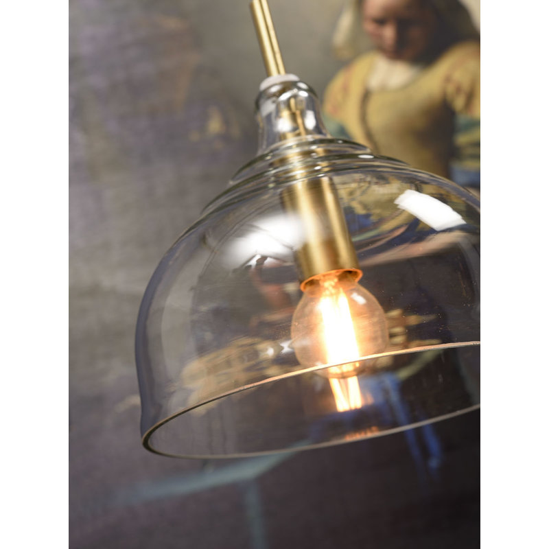 it's about RoMi-collectie Hanging lamp glass Brussels transparent/gold, round