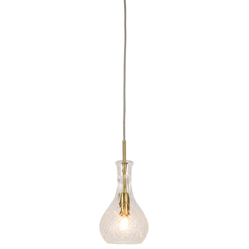 it's about RoMi-collectie Hanglamp glas Brussels transparant/goud, druppel