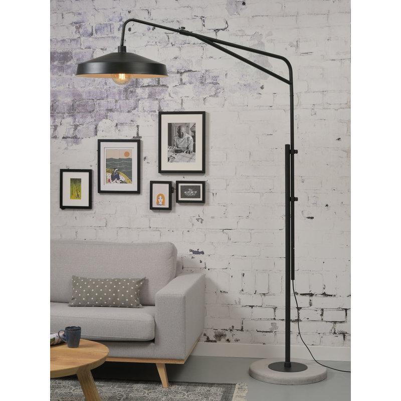 it's about RoMi-collectie Vloerlamp ijzer/cement Brighton mat zwart/kap ijzer zwart