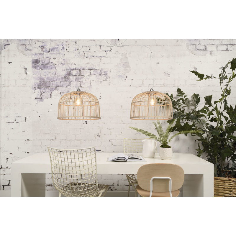 Good&Mojo-collectie Hanging lamp Borneo bamboo double shade natural, L