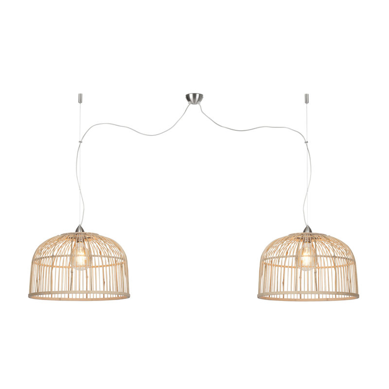 Good&Mojo-collectie Hanglamp Borneo bamboe rond dubbel kap naturel  52cm