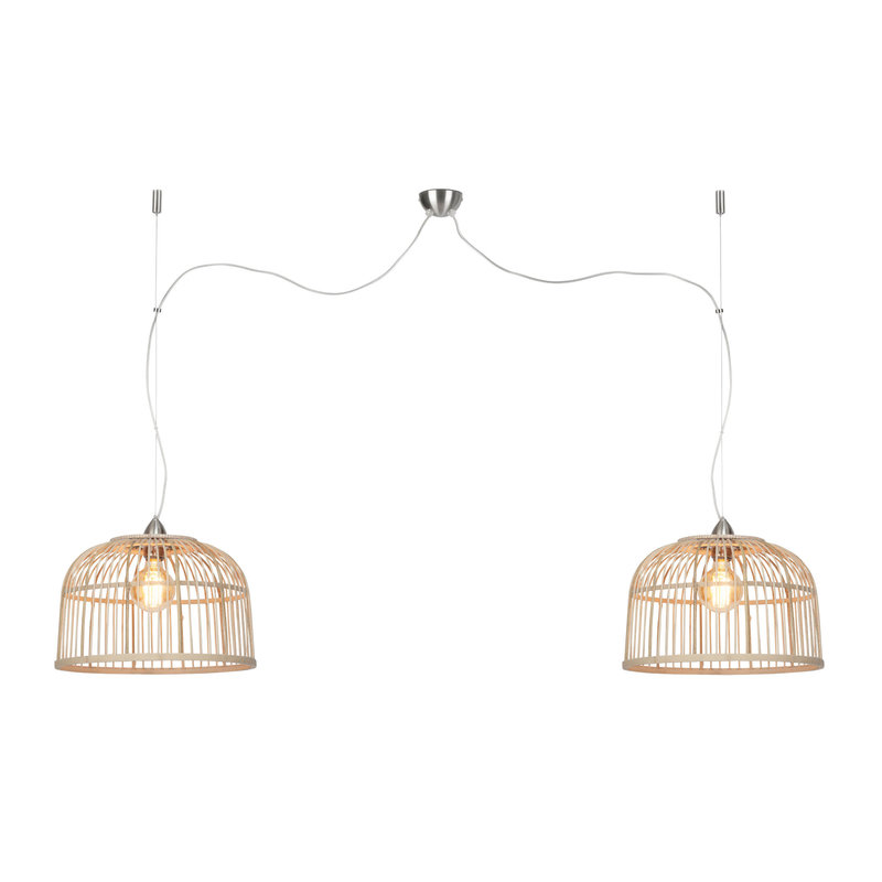 Good&Mojo-collectie Hanging lamp Borneo bamboo double shade natural, S