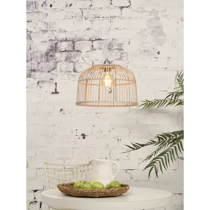 Good&Mojo-collectie Hanging lamp Borneo bamboo single shade natural, S