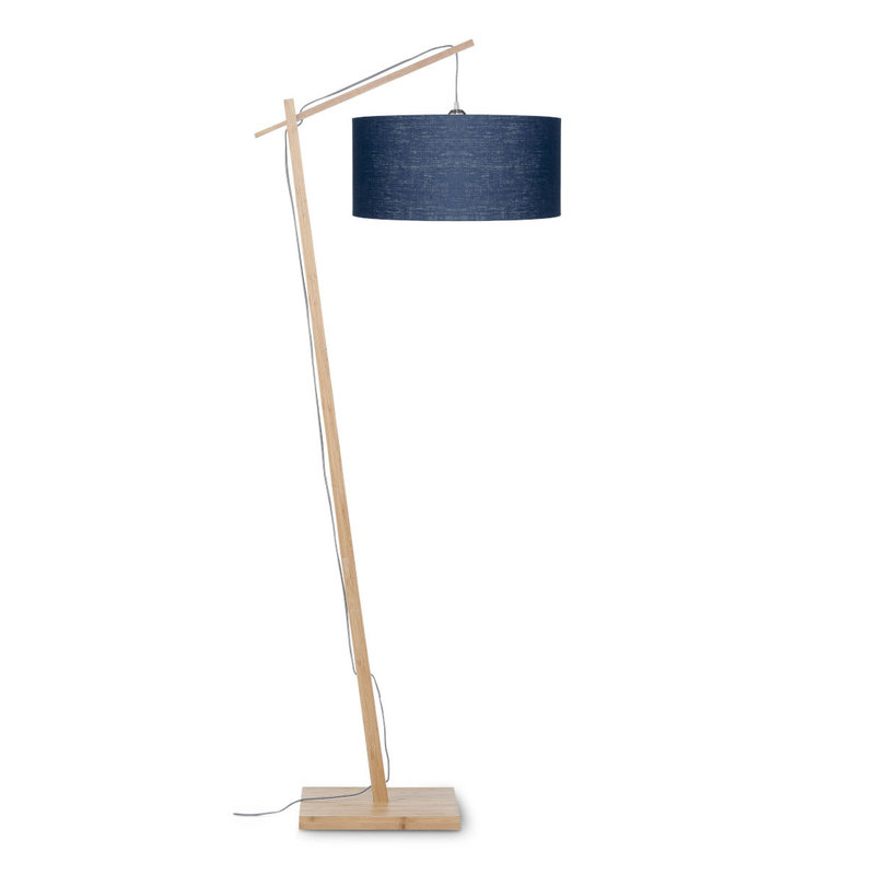 Good&Mojo-collectie Vloerlamp Andes bamboe eco linnen blue denim