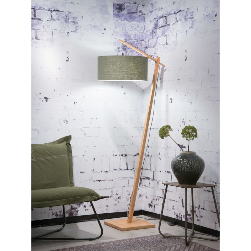 Good&Mojo-collectie Vloerlamp Andes bamboe eco linnen green forest
