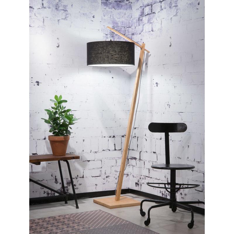 Good&Mojo-collectie Vloerlamp Andes bamboe  eco linnen zwart