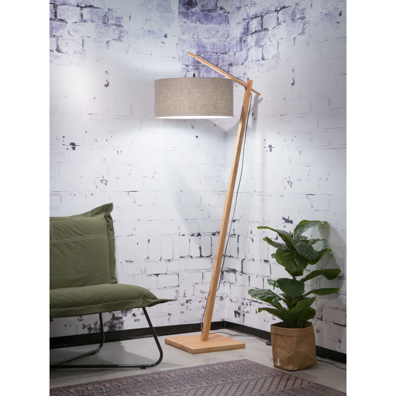 Good&Mojo-collectie Floor lamp Andes bamboo 4723, linen dark