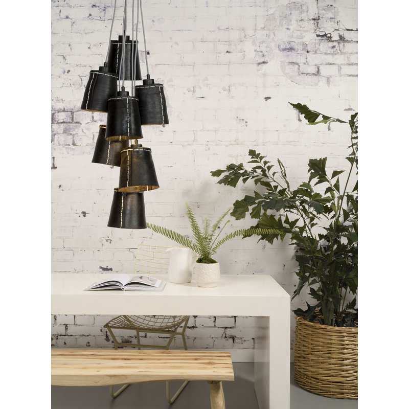 Good&Mojo-collectie Hanging lamp Amazon/7-shade black, L