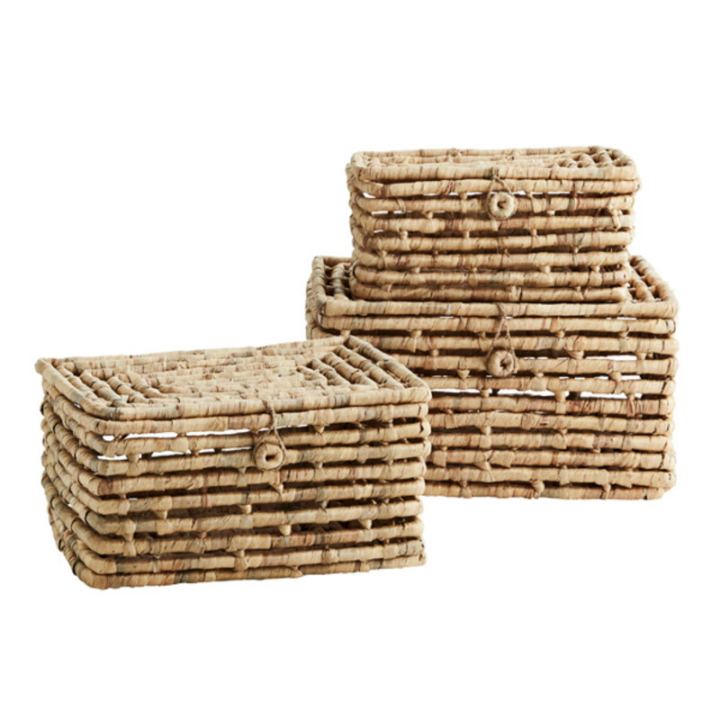 Madam Stoltz-collectie Rectangular wicker boxes w/ lid