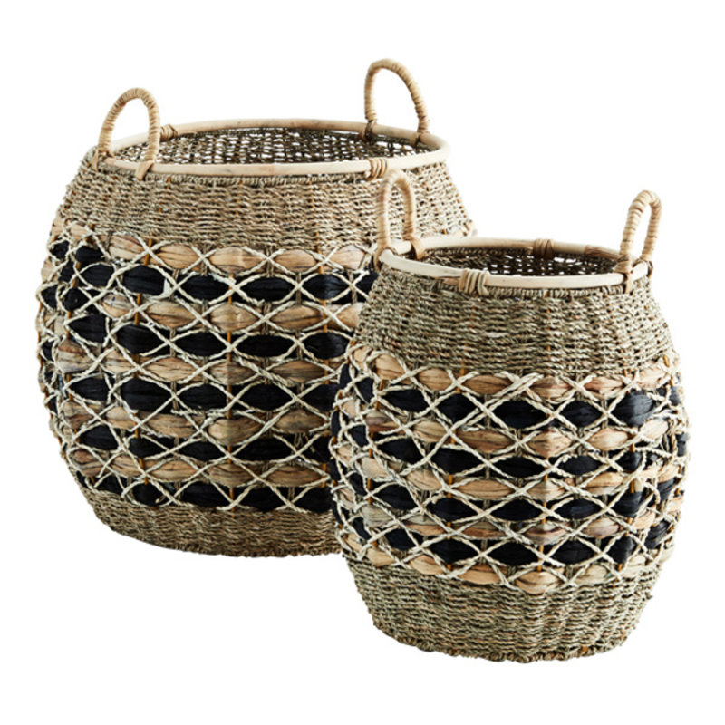 Madam Stoltz-collectie Round wicker baskets w/ handles