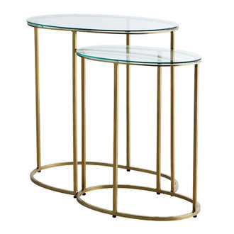 Madam Stoltz Ovale sidetable brass set van 2