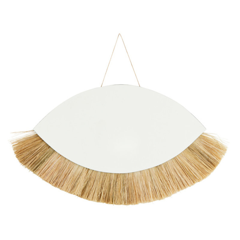 Madam Stoltz-collectie Hanging mirror w/ grass frame