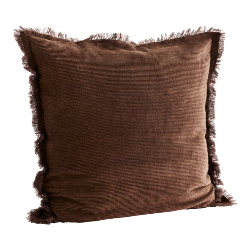 Madam Stoltz-collectie Corduroy cushion cover w/ fringes
