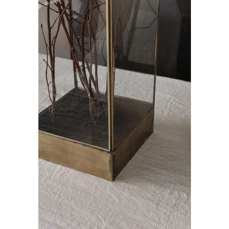 House Doctor-collectie Glazen box PLANT antiek brass 45cm