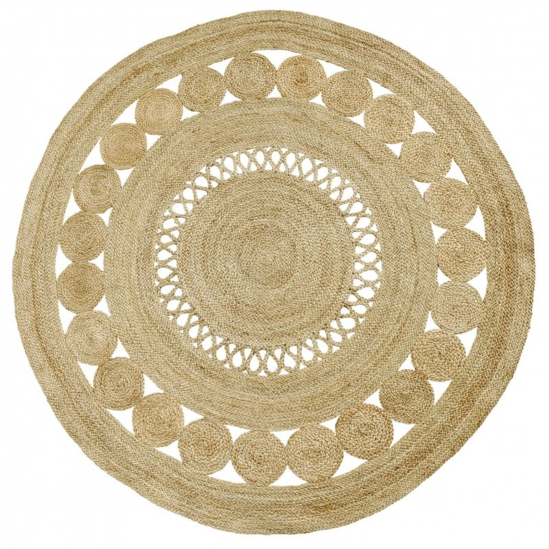 Nordal-collectie BALL round carpet w. pattern, Natural