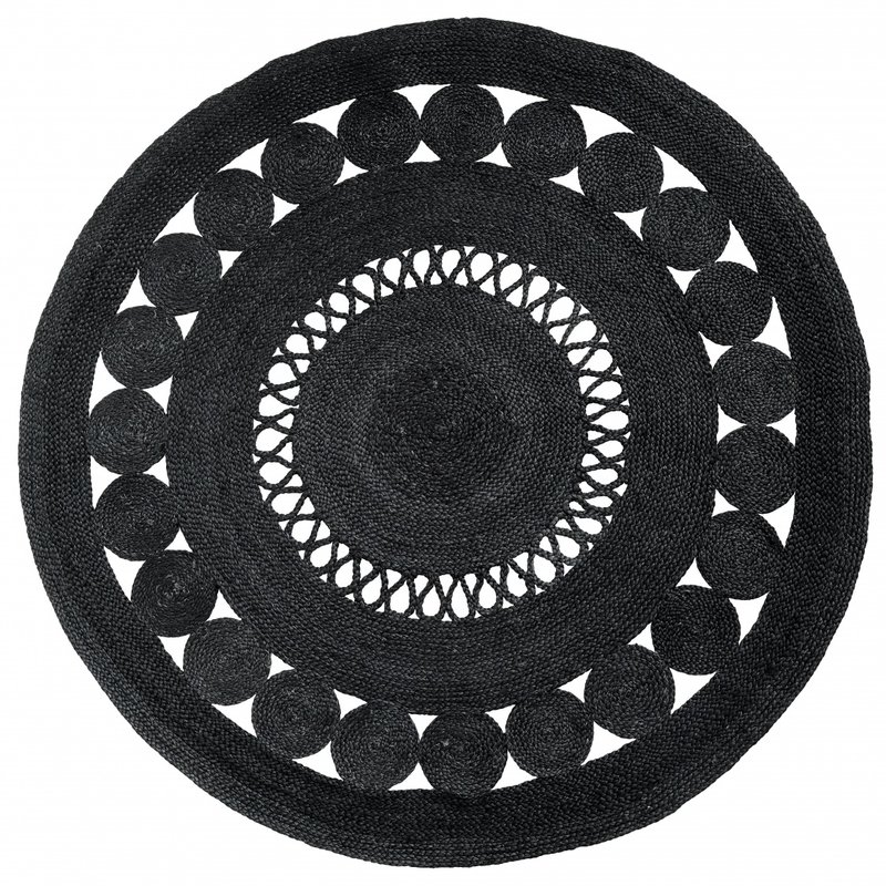 Nordal-collectie BALL round carpet w. pattern black