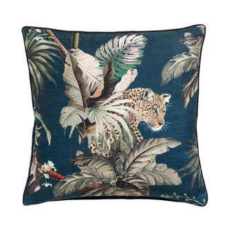 Nordal Cushion cover leo jungle  dark blue velvet