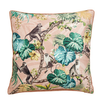 Nordal Cushion cover, monkeys, rose, velvet
