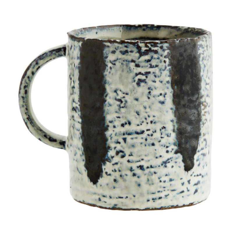 Madam Stoltz-collectie Stoneware mug w/ stripes