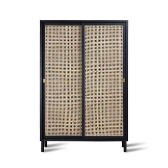 HK living webbing sliding door cabinet black