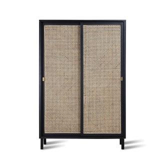 HKliving webbing sliding door cabinet black