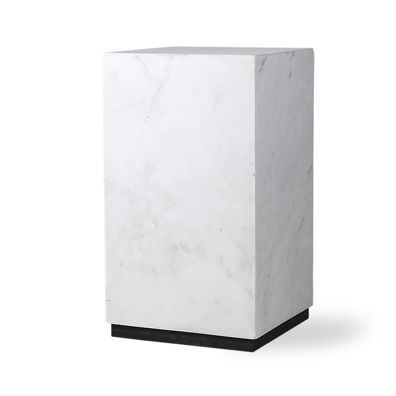 HK living-collectie white marble block table S