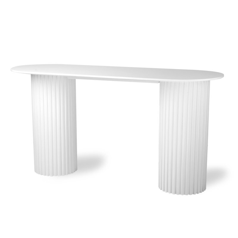 HKliving-collectie Sidetable Pillar ovaal wit