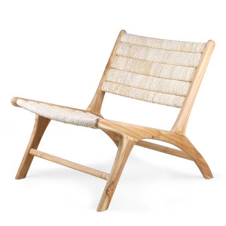 HK living abaca/teak lounge chair