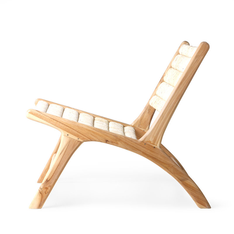HKliving-collectie abaca/teak lounge chair