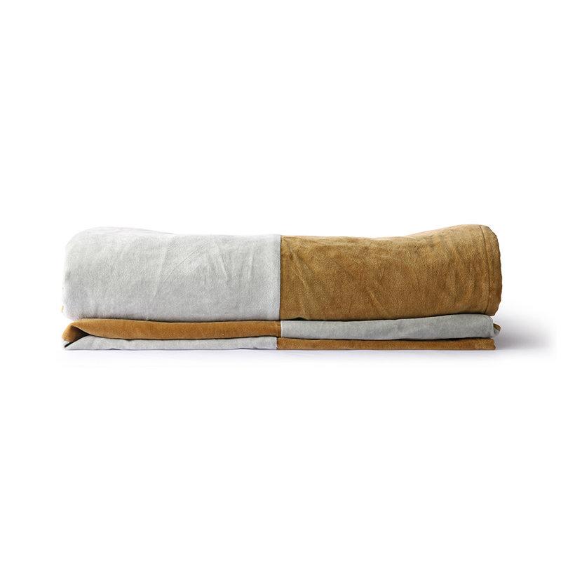 HKliving-collectie Bedsprei velvet Striped grijs goud