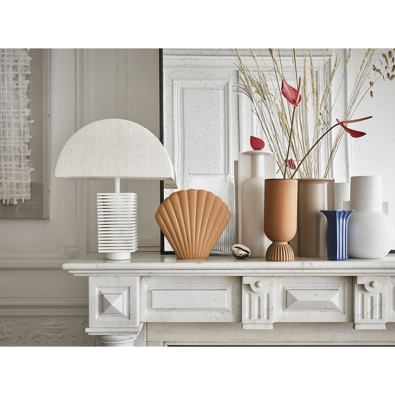 HKliving-collectie ribbed table lampbase white marble