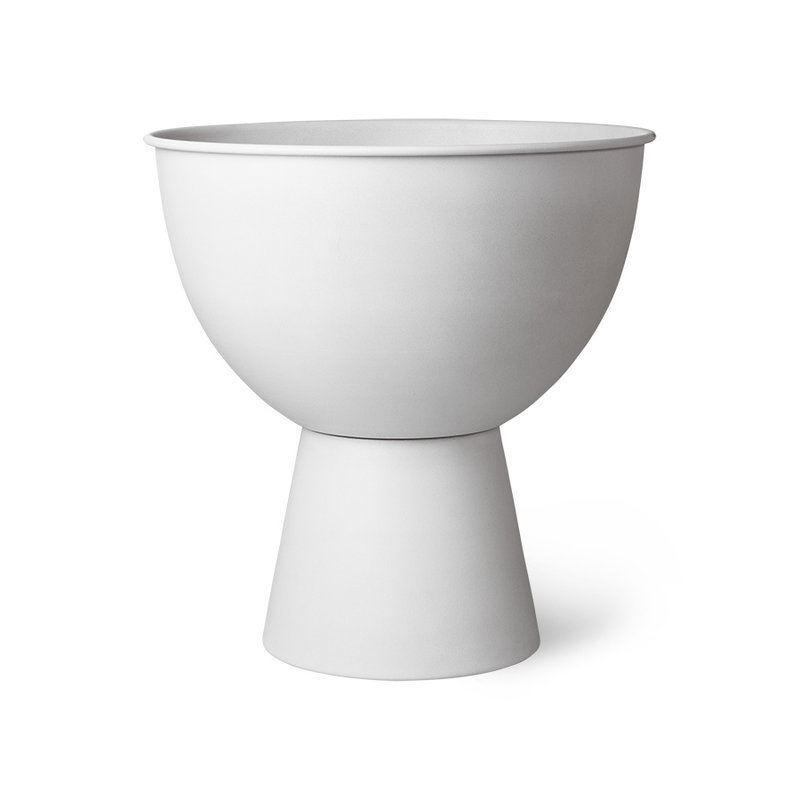 HKliving-collectie metal flower pot on base rustic white L