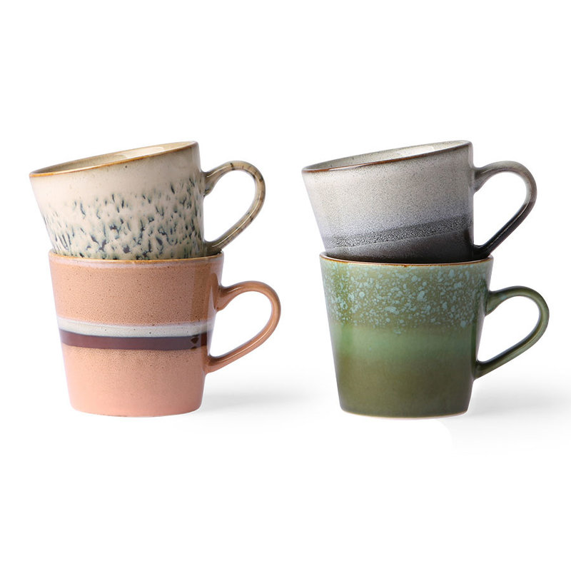 HKliving-collectie ceramic 70's cappuccino mugs set of 4