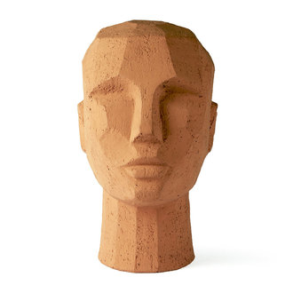 HKliving Sculpture Abstract hoofd terracotta