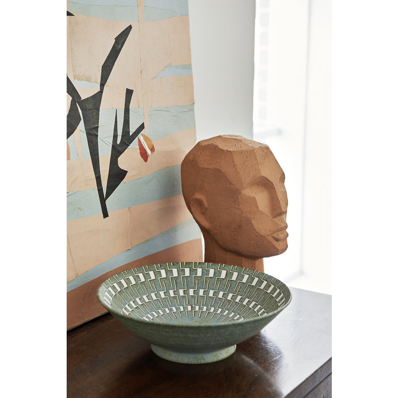 HK living-collectie abstract head sculpture terracotta
