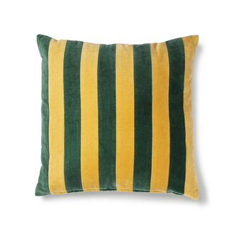 HKliving striped cushion velvet green/mustard (50x50)