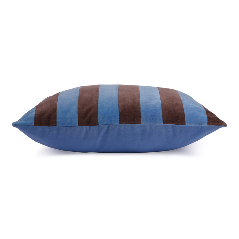 HKliving-collectie striped cushion velvet blue/purple (50x50)