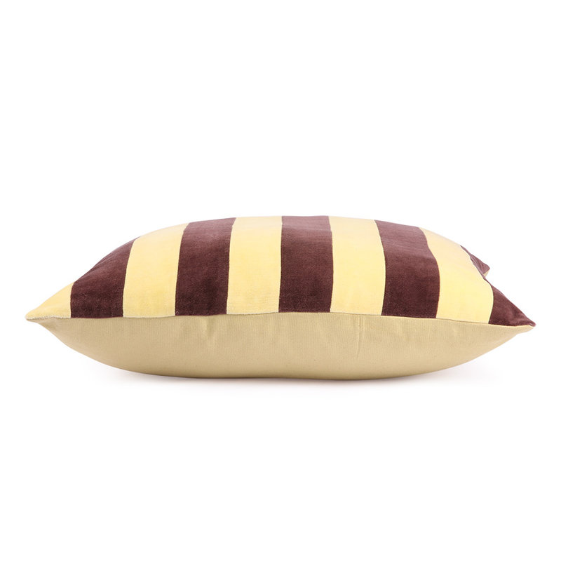 HKliving-collectie striped cushion velvet yellow/purple (50x50)