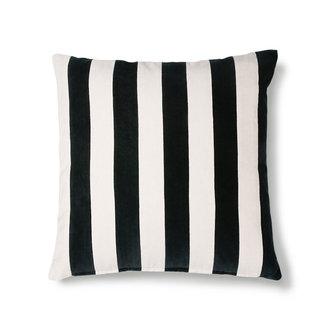 HKliving striped cushion velvet black/white (50x50)