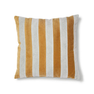 HKliving striped cushion velvet grey/gold (50x50)