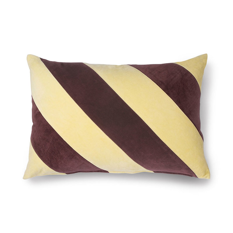 HKliving-collectie striped cushion velvet yellow/purple (40x60)