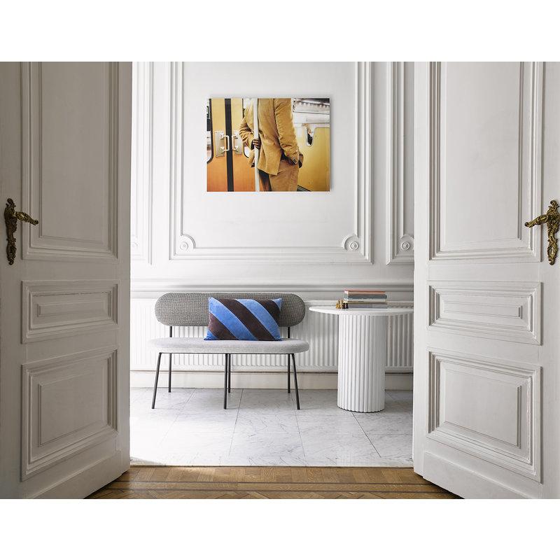 HKliving-collectie Sierkussen velvet  Stripes perzik creme 40x60