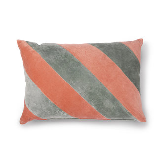 HKliving striped cushion velvet grey/nude (40x60)