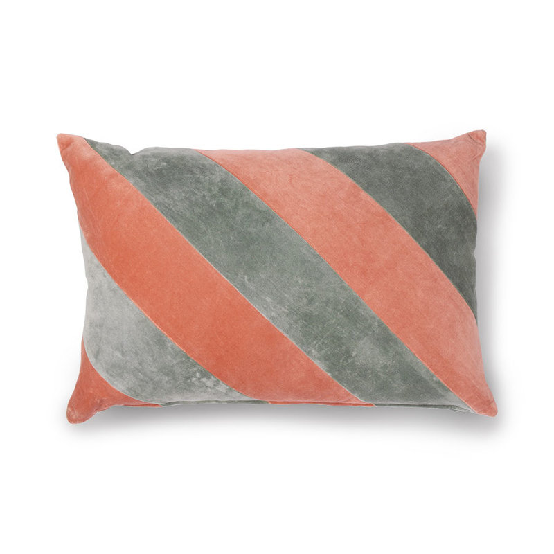 HK living-collectie striped cushion velvet grey/nude (40x60)
