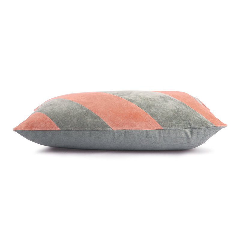 HKliving-collectie striped cushion velvet grey/nude (40x60)