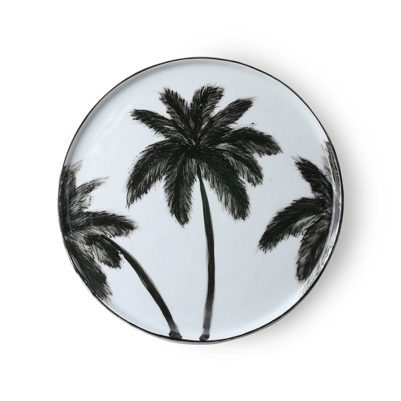 HKliving-collectie bold & basic ceramics: porcelain dinner plate palms