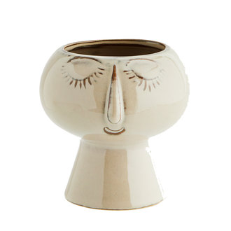 Madam Stoltz Flowerpot with face beige 15 cm - Copy