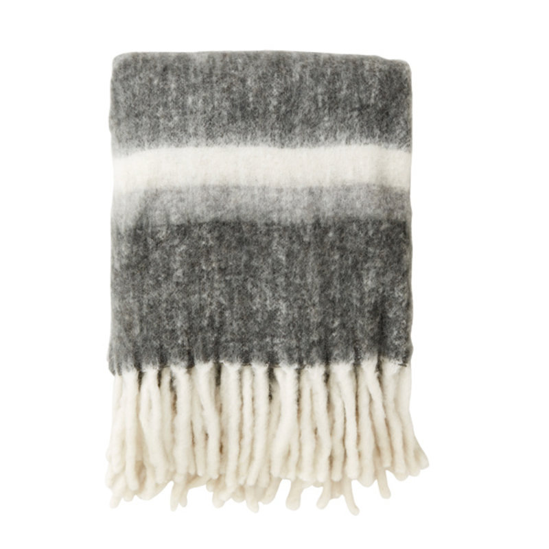 Nordal-collectie Blanket, grey stripes, mohair look